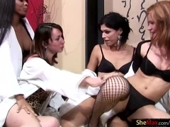 T-girl hotties enjoy hot and wild foursome oil fuck-massage