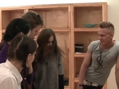 Elizabeth & Kamila & Marya & Sabina Gruda & Tanata in an in-love couple of naked students having sex