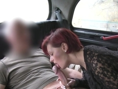 Busty redhead with big booty bangs in fake taxi