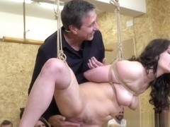 Butt plugged Euro slave in public