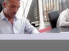 Ripped officehunk bangs moustached colleague in office