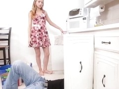 Teen Sydney Cole try her nasty skills on plumber and his tool