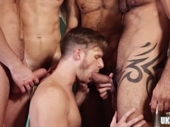 Hot gay threesome and cumshot