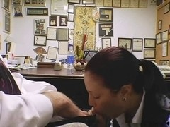 Secretary Brandi is doing a blow job on her knees