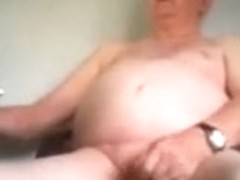 Grandpa jerking off his cock