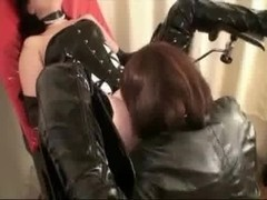 Kinky lesbian BDSM encounter with a hot babe