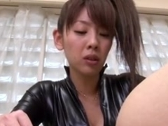 Japanese strapon leather lady