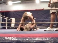 Angel Long and Cathy Heaven are having fun fucking each other on a boxing ring