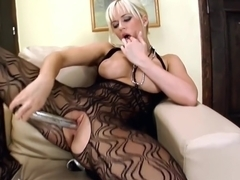 Busty blonde Cindy Dollar plays with her pussy solo - Twisty