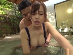 Cute Japanese AV girl in glasses Akane Aoi fucked and creampied