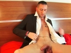 The salesman gets wanked his huge cock by me in spite of him