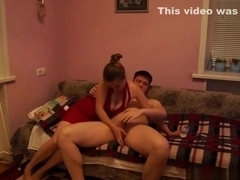 Russian amateur couple plaing with whipped cream and fucks