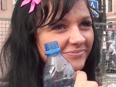 Bella Margo  in a guy gets his amateur dick licked by a cute chick