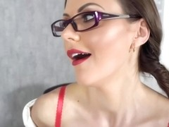 Sexy secretary, Tina Kay is desperate to get fucked, or at least to masturbate right away