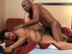 Black slut with thunder things gets a hardcore fuck in bed