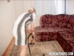 Hot Mama Gets Hard Young Cock After Cleaning!