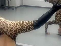 Girlfriend dressed in a leopard catsuit