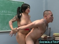 Ass ramming tgirl spunked