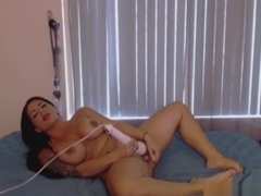 Big natural tits brunette stains bed with cum