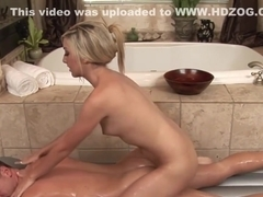 Blonde Callie Cobra gives a guy a massage and a bj