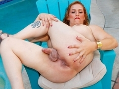 Amber Action Poolside - TGirl40