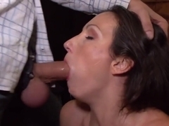 Brunette mouth fucked for goods