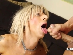 Shemale Robbi Racks sucks dick and licks man' ass for semen