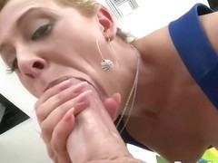 Kinky blonde got a fat cock inside her tight ass, while her partner was at work