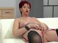 Mature redhead, Caroline Hamsel is ready to show us the way she likes to masturbate