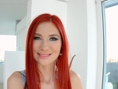 Redhead spotty Kattie Gold masturbation on Give Me Pink