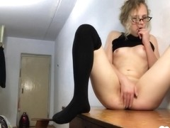 Sexy Blonde Babysitter In Stockings Fingering Her Cunt