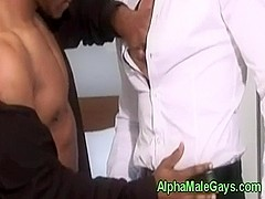 Interracial gay bj fun with two studs