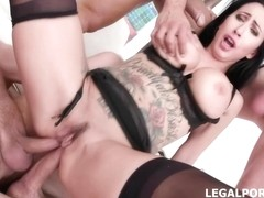Tattooed brunette in erotic stockings and garter belt, Lily Lane got DP and DAP during group sex