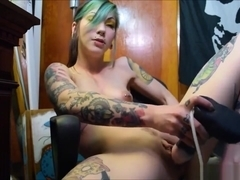 Dirty Talked Punk Slut FIlms Herself While Masturbating With A Huge Toy