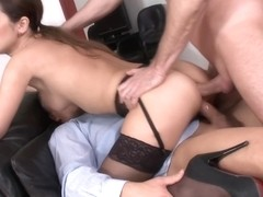 Office babe sheds her inhibitions for anal
