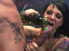 Anal whore Victoria Sin has rough threesome