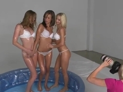 Hot horny teen babes teasing play in the pool!