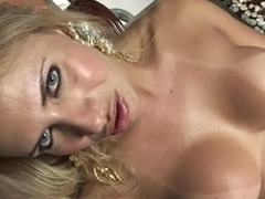 Busty blonde TS wanking her cock