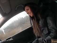 Skinny amateur teen Gina Devine fucked in the car and jizzed on
