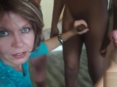 Sissy taught to suck three cocks by mother (POV camerwork)