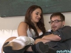 Sexy MILF Sheena Ryder fucks her son in law on a couch