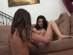 Brunette with natural tits gets her muff eaten by lesbian babe