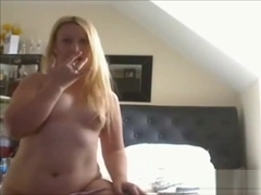 Cute Chubby Blonde Teen GF touching her pussy