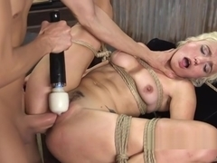 Blonde fucked in hogtie suspension