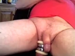 Urethra Edging Massage with Ball Weights and Cum