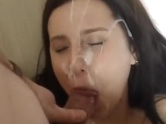 Concupiscent mate bursts spruce biggest facial spunk flow on her
