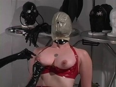 Red latex villein enjoys breath play