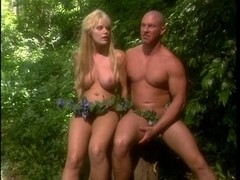 Hot blond breasty tree nymph has her a-hole destroyed by large rod in the jungle