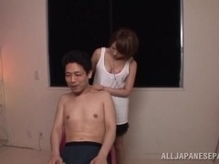 Rika Hoshimi strokes hard cock and sucks it