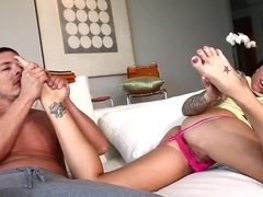 Stunning Juelz Ventura giving cool footjob